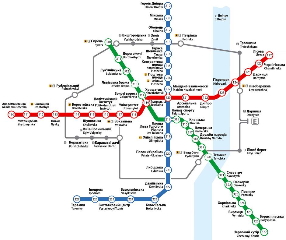 Карта метро Киева. Схема метро